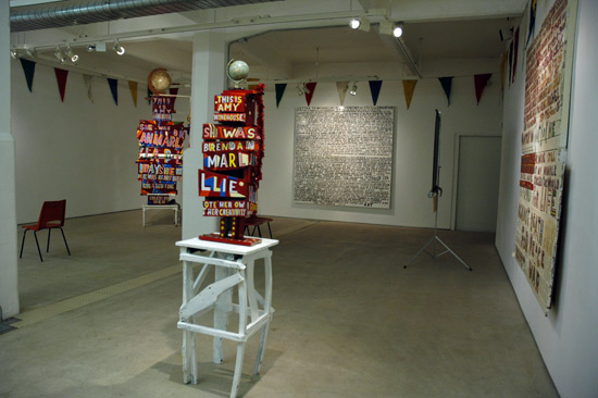 Bob and Roberta Smith, The Art Party USA Comes to the UK, exhibition view, 2012, Hales Gallery, London.