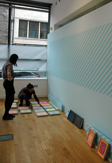 Chinese Arts Centre Curator Ying Kwok and Programme and Engagement Co-ordinator Liz Wewiora making selections.