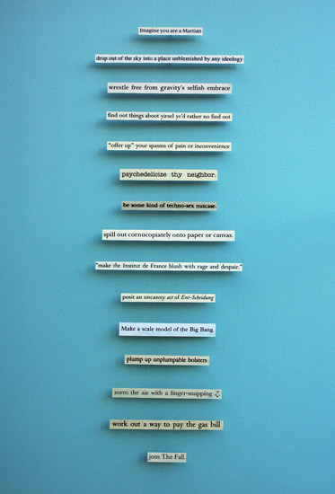 Chris Kenny, Cultural Instructions, 2012, found text, scanned, enlarged, printed, mounted. On display in The First Cut at Manchester Art Gallery.