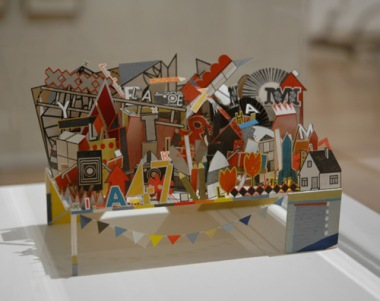 Sarah Bridgland, The Pier, 2012, paper, card, balsa wood, glue, thread, pencil, paint. On view in The First Cut, Manchester Art Gallery, Manchester, UK.