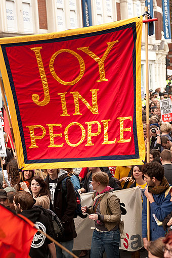 Jeremy Deller, Joy in People banner (made by Ed Hall). Photographed in London, November 9, 2011, by Linda Nylind. // icaphila.org
