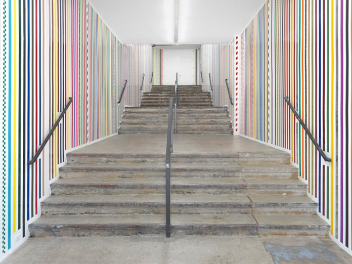 Martin Creed, Work No. 1461, 2013, 2-inch wide adhesive tapes, Overall dimensions variable. Permanent installation on view from 24.01.2013, Hauser & Wirth, 511 West 18th Street, New York NY 10011 // martincreed.com