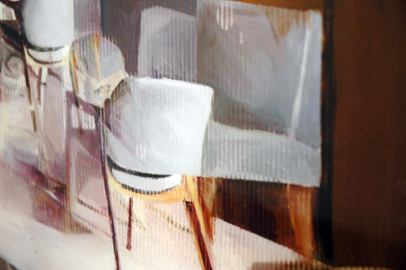 Detail of a reverse painted oil-on-plexiglas work by Gil Heitor Cortesao. Galeria Pedro Cera, Lisbon.