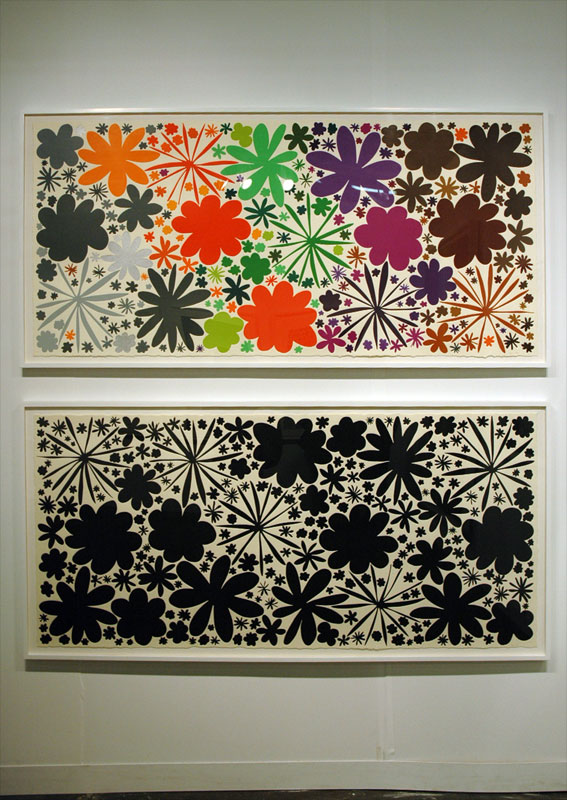 This is kind of smart: a colorful print and its rotated black only version. You could learn a lot from studying this pair of prints. Polly Apfelbaum, Durham Press, Durham, NC.