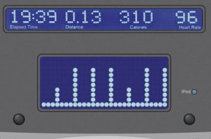 A cardio machine display of an interval workout, where high-intensity activity is interspersed with recovery periods.
