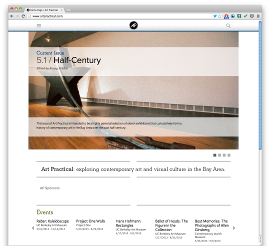Art Practical's first issue on its redesigned site.