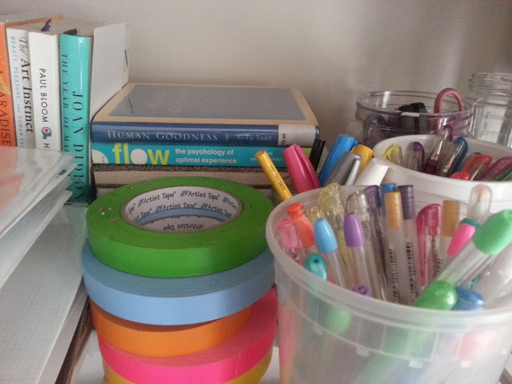As far as I'm concerned, books, artist's tape, and colorful pens are non-negotiable.