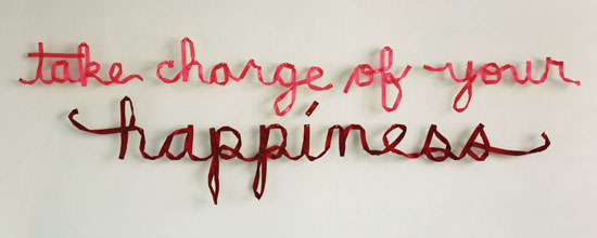 Christine Wong Yap, take charge of your happiness, 2011, ~83 × 24 × 1 in / 211 × 61 × 2.5 cm.