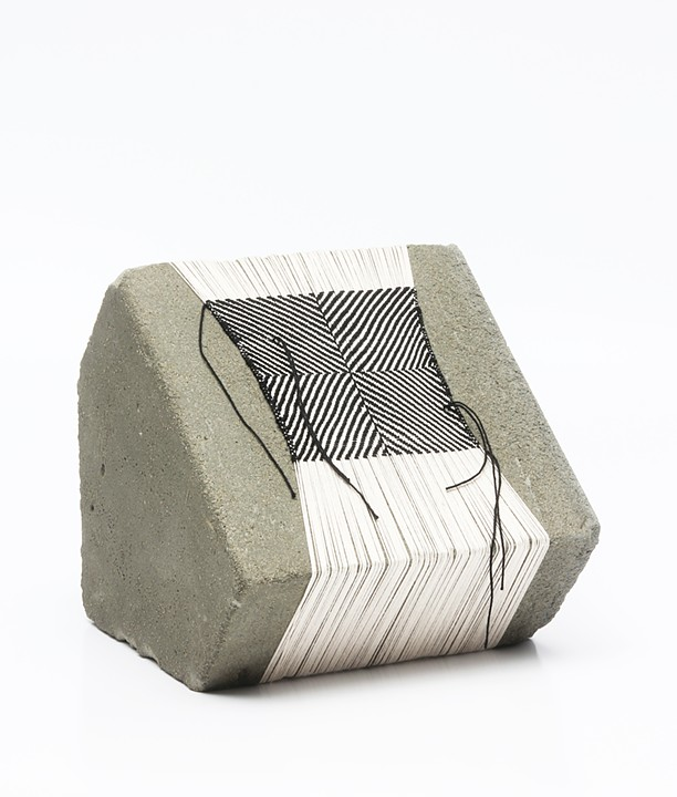 "Laura Fischer, no. 5, 2013, concrete and thread, 7"" x 8"" x 7 // Source: LFischerStudio.com"