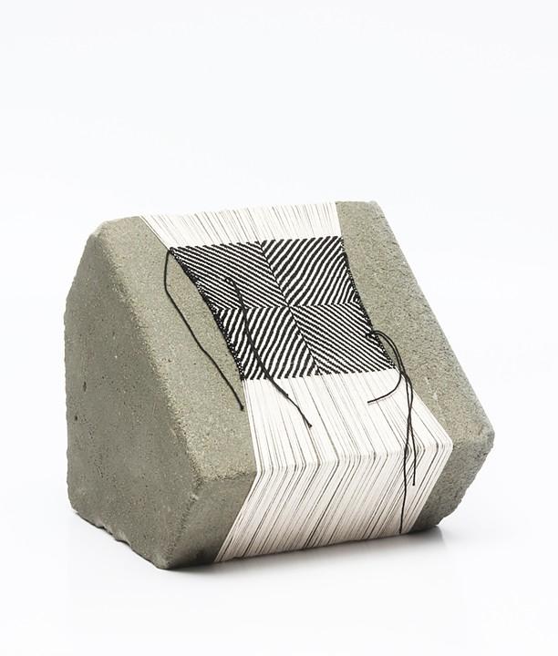 "Laura Fischer, no. 5, 2013, concrete and thread, 7"" x 8"" x 7 // Source: LFischerStudio.com"