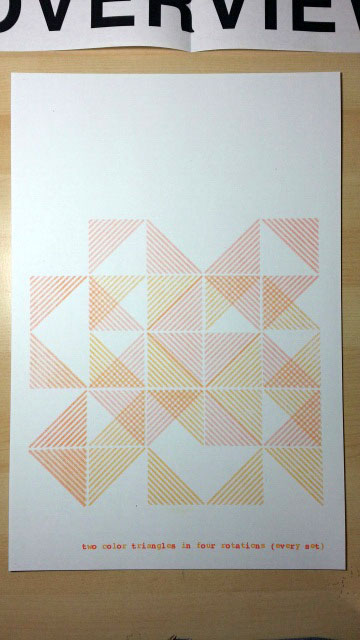 Michael Milano's operational two-color print, in which a single triangular design is rotated and overprinted.