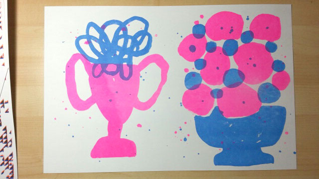 Luke Fischbeck, two color risograph print, various renderings of possibly happy/sad faces.