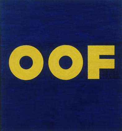 "Edward Ruscha,  OOF, 1962, Oil on canvasDimensions, 71 1/2 x 67"" // Source: Moma.org."