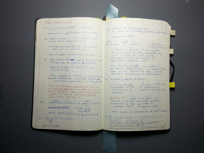 Sketchbook/notebook notes on a book by Csikszentmihalyi & Rochberg