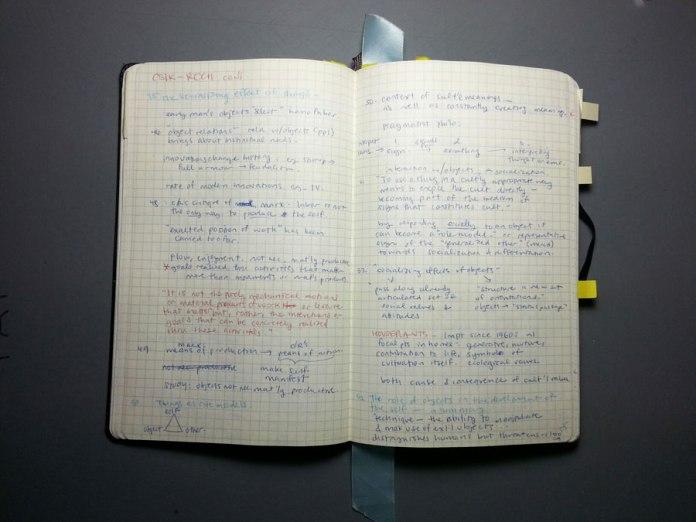 Sketchbook/notebook notes on a book by Csikszentmihalyi & Rochberg