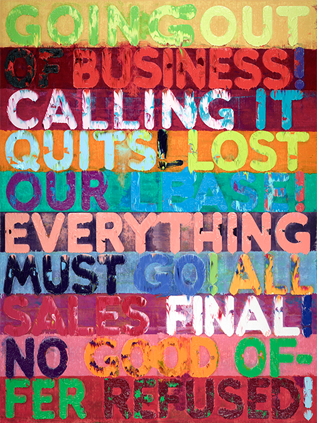 Mel Bochner, Going Out of Business, 2012, oil on velvet, 93 ½ × 70 ¼ in. (237. 5 x 178.4 cm). Private collection, New York. Artwork © Mel Bochner. // Site: thejewishmuseum.org.