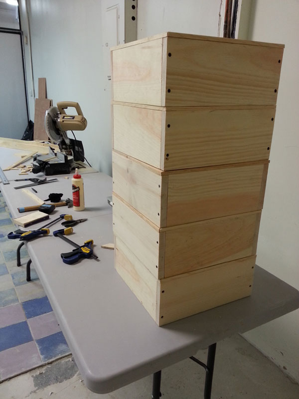 Stack of frames and chop saw