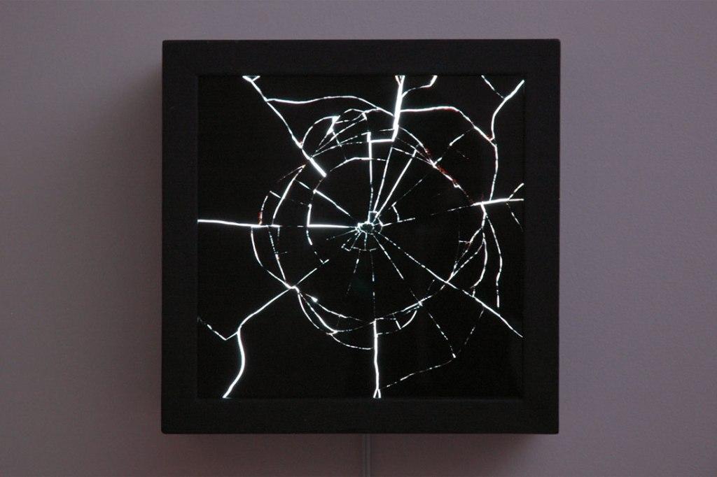 Mirror #1, 2014, wood, asphalt-based coating, light, acrylic, mirror, 13.625 x 13.625 x 5.5 inches / 34.6 x 34.6 x 14 cm