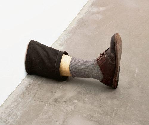 Robert Gober (American, born 1954). Untitled Leg. 1989–90. Beeswax, cotton, wood, leather, human hair, 11 3/8 x 7 3/4 x 20″ (28.9 x 19.7 x 50.8 cm). The Museum of Modern Art, New York. Gift of the Dannheiser Foundation. © 2014 Robert Gober // Source: moma.org.