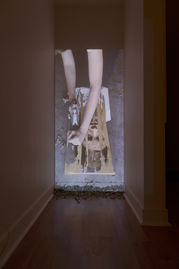 Julie Nymann, Shreds of Laughter, 2014, 0:06:00, 9:16 HD, Vertical projection, stereo, wood shavings // Source: julienymann.com.