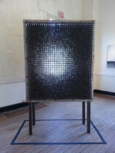 """Randy Colosky, Ghost in the Machine, 2012, steel frame with 1"""" aluminum tubes, courtesy the artist and Chandra Cerrito Contemporary."""