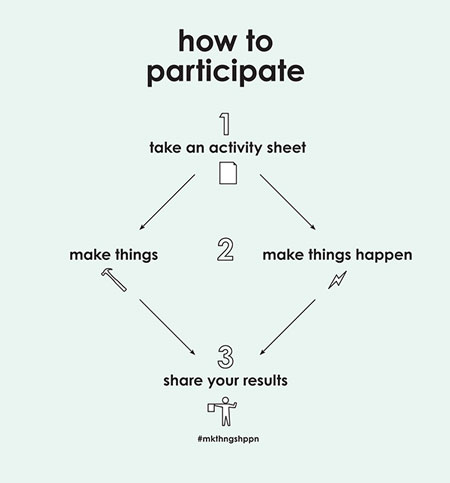 how to participate: take an activity sheet. make things happen. make things. share your results. #mkthngshppn