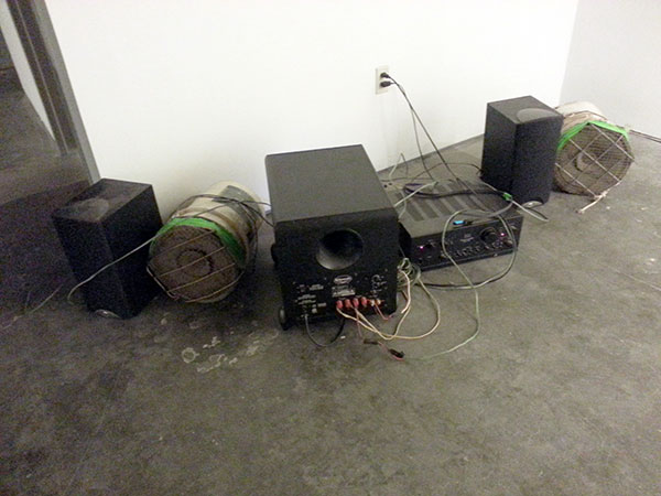 Bucket-phone outfitted PA system lent by Mike Miller.