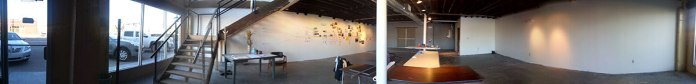 Panorama of Harvester Arts' ground floor studio/gallery, shortly after I arrived.