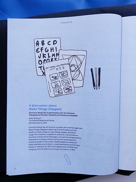 Make Things (Happen) PSU Assembly brochure page. Illustrations of activities by Kari Marboe & Erik Scollon, Piero Passacantando, and Tattfoo Tan.