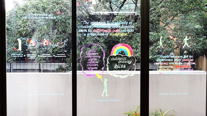 Positive Signs by Christine Wong Yap, locally re-drawn by Artery Art Space.  Installation view, Material Practices in the Everyday, May 2015, Artery Art Space, Quezon City, Philippines.