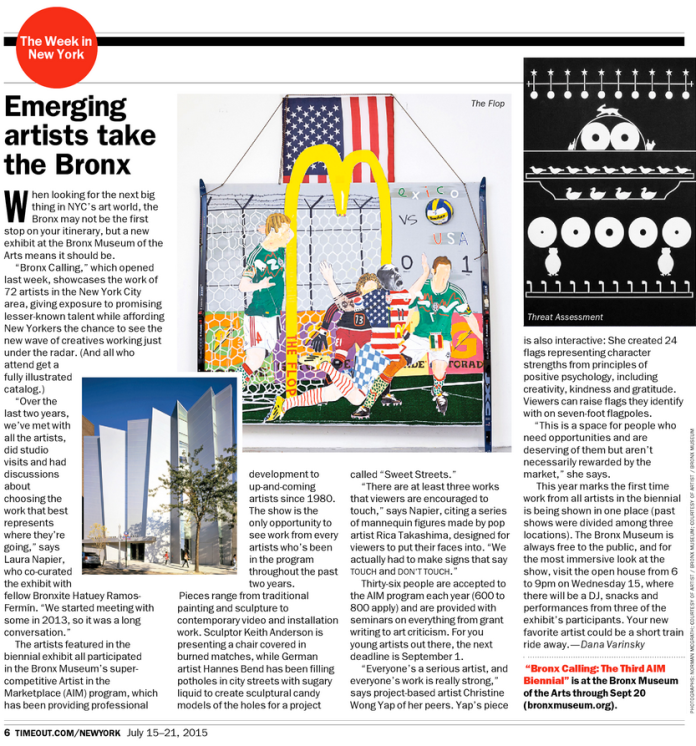 "Dana Varinsky. ""Emerging Artists Take the Bronx,"" Time Out New York, July 15, 2015."