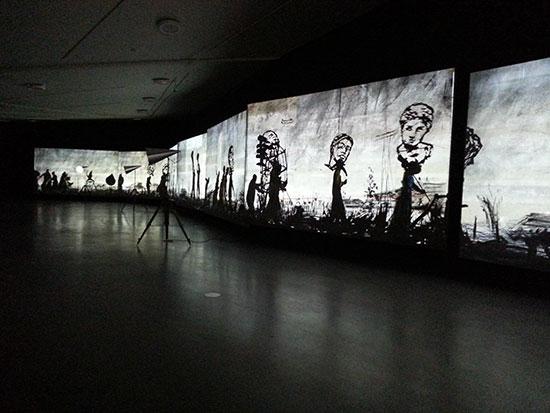 William Kentridge, If We Ever Get to Heaven, installation view at Eye Film Institute