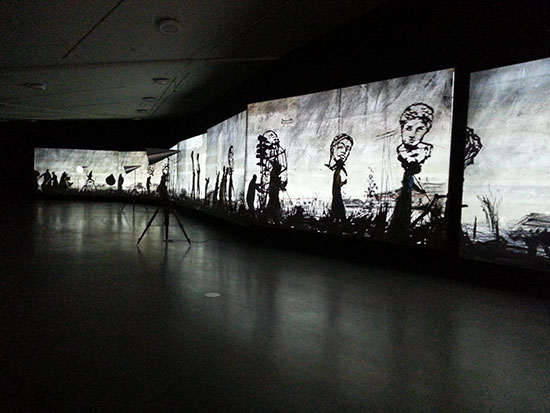 William Kentridge, If We Ever Get to Heaven, installation view at Eye Film Institute