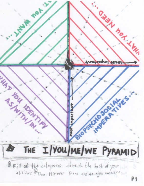 Artist unknown, contribution to Make Your Own Activity Sheet station, 2015 // The I/You/Me/We Pyramid