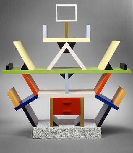 """""""Carlton"""" room divider, 1981 Ettore Sottsass (Italian, born Austria, 1917), Designer; Memphis s.r.l., Manufacturer Wood, plastic laminate; 76 3/4 x 74 3/4 x 15 3/4 in. (194.9 x 189.9 x 40 cm) // Source: metmuseum.org."""