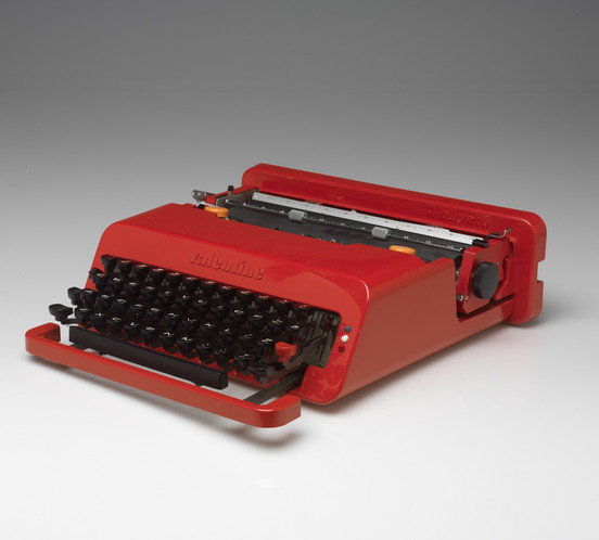 Ettore Sottsass, Jr., Perry A. King, Olivetti Manufacturing Company, manufacturer,  Valentine Portable Typewriter and Case, 1969, Plastic, rubber and metal, 4 x 12 7/8 x 12 7/8 inches // Source: risdmuseum.org