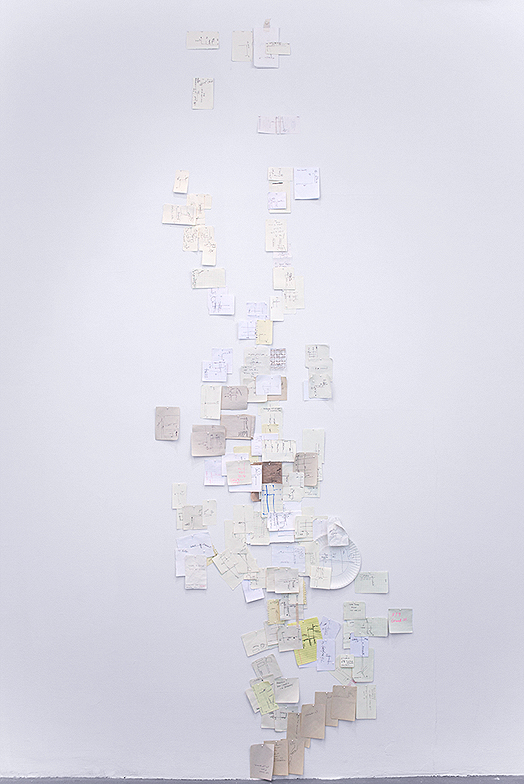 "Nobutaka Aozaki, From Here to There, 2012–ongoing, questions, various pens and paper, 10' x 3' 2"" / dimensions variable. // Source: NobutakaAozaki.com"