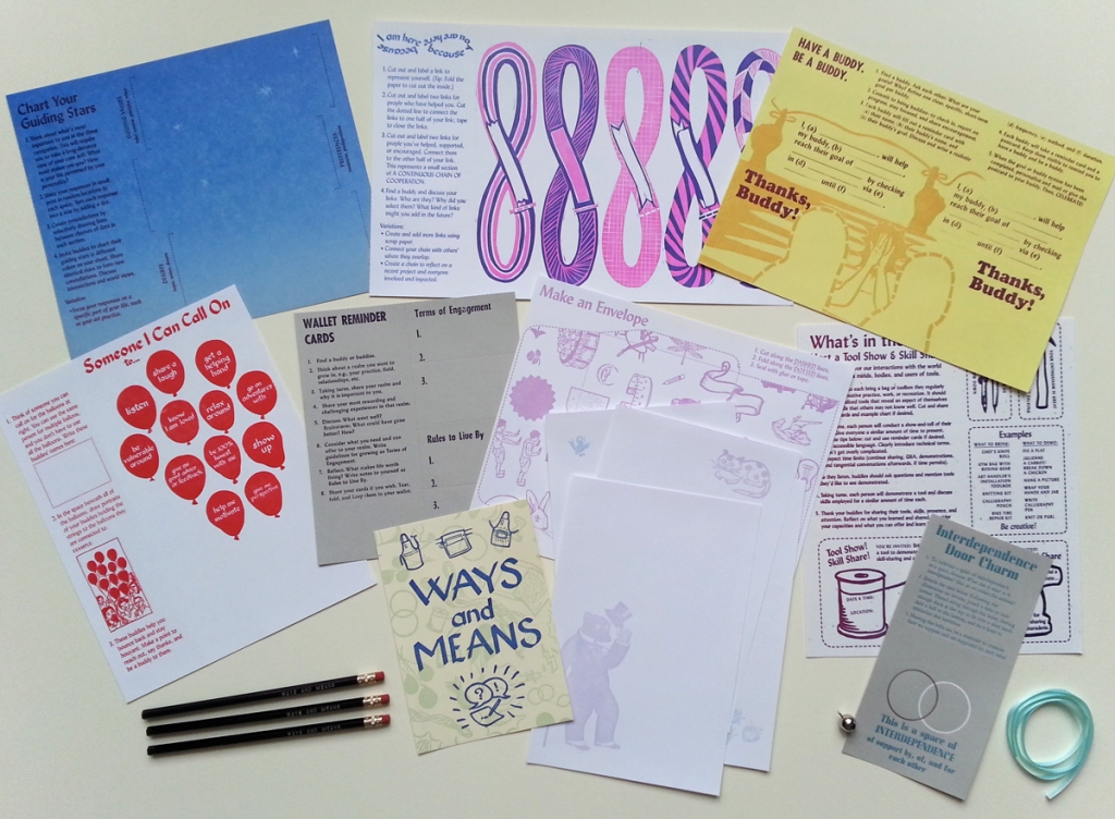 Ways and Means Activity Kit, 2016, letterpress prints with hot foil, pencils, crafting extras, dimensions variable.