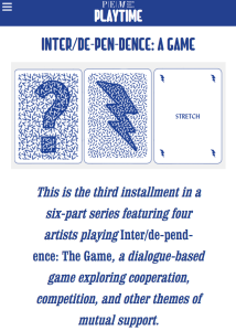 Inter/de-pen-dence: A Game is now featured on playtime.PEM.org, the Peabody Essex Museum's site accompanying their current exhibition on play.