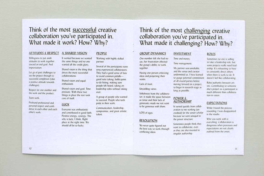 Spread from Co-laboration zine about the most successful or most challenging creative collaborations you've participated in, and what made them that way, and why,