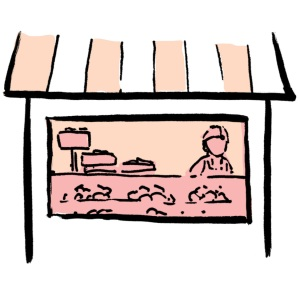 A drawing of a bakery
