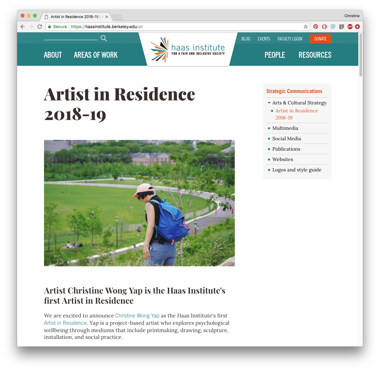 Screenshot of Haas Institute's webpage announcing Artist in Residence 2018-2019
