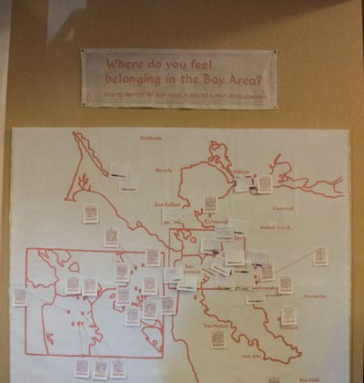 I invited conference attendees to add their place of belonging to a map of the Bay Area.