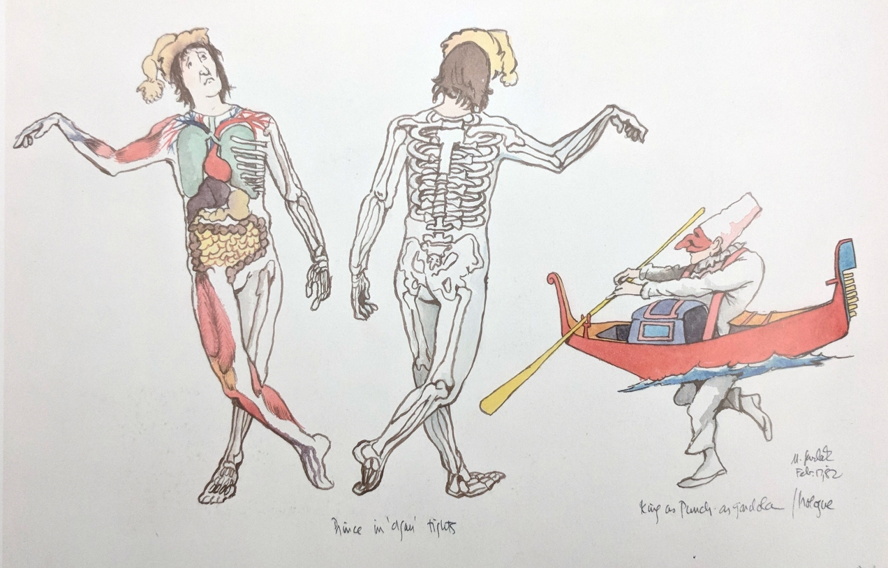 "Drawing of costume designs. Three figures. The two figures on the left show the front and back of the same person, ""prince"" in a body suit showing organs and bones. The third figure is a man a boat."