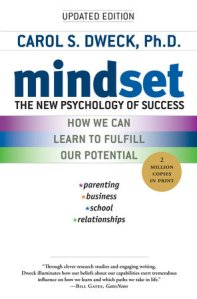 Cover of book, no images, but there are three bars of color: purple, blue, green. Mostly white background. Updated Edition. Subtitle: The new pyschology of success: How we can learn to fulfill our potential. sticker: 2 million copies in print. list: parenting, business, school, relationships. small blurb.