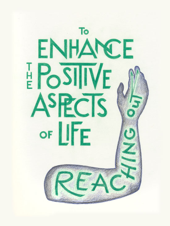 A colored pencil drawing in green and black. Shown: of an arm reach up with the text,