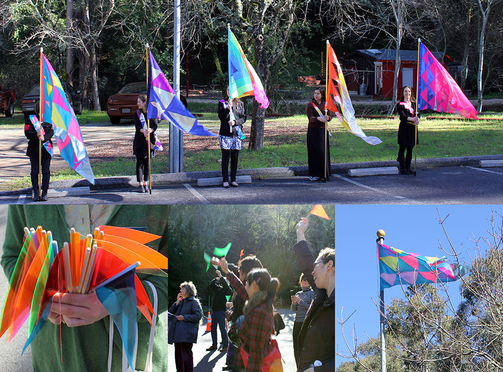 4 photos documenting a flag procession and raising ceremony. the flags are colorful patterns without representational symbols.